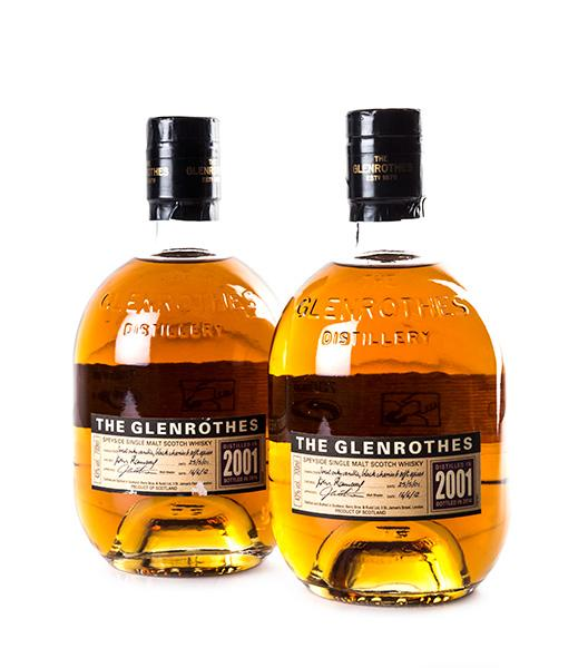 DOS BOTELLAS DE WHISKY THE GLENROTHES COSECHA 2001